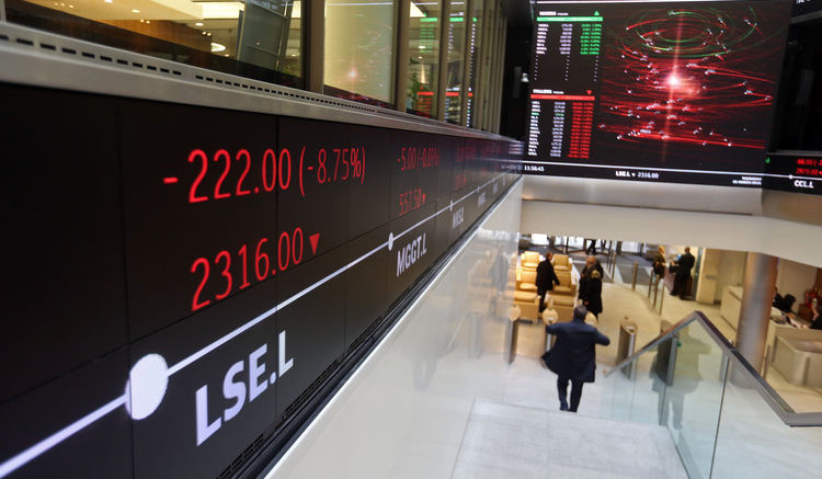 The electronic ticker board at the London Stock Exchange.