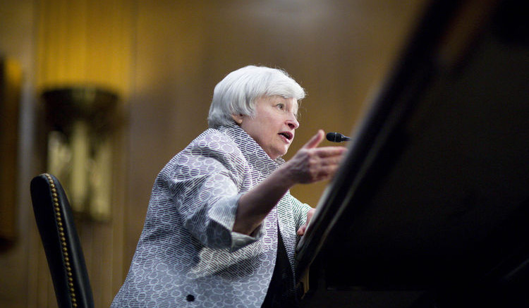 Janet Yellen, chair of the U.S. Federal Reserve. Photographer: Andrew Harrer