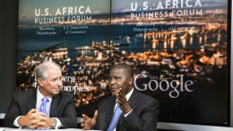 Stephen Schwarzman, chairman, chief executive officer and co-founder of Blackstone Group LP, left, and Aliko Dangote, president and chief executive officer of Dangote Group and Africa's wealthiest man, participate in the Bloomberg Philanthropies Google Hangout during the US-Africa Business Forum in Washington, D.C., U.S., on Tuesday, Aug. 5, 2014. Photographer: Drew Angerer/Bloomberg via Getty Images