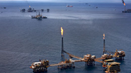 Gas is flared off from Petroleos Mexicanos offshore platforms producing oil in the Gulf of Mexico. Photographer: Susana Gonzalez
