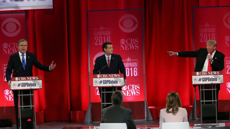 Republican presidential candidates Jeb Bush, Ted Cruz, and Donald Trump participate in a CBS News debate on Feb. 13, 2016, at the Peace Center in Greenville, South Carolina. Photographer: Spencer Platt/Getty Images