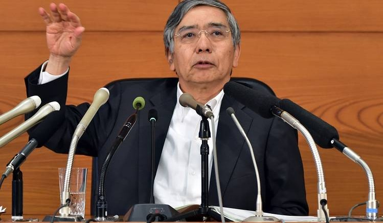Bank of Japan Gov. Haruhiko Kuroda speaks to reporters after a two-day policy meeting