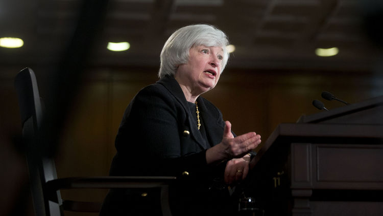 Janet Yellen, chair of the U.S. Federal Reserve, speaks during a news conference following a Federal Open Market Committee meeting in Washington, D.C
