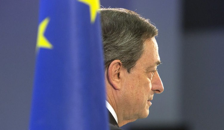 Mario Draghi, president of the European Central Bank (ECB), pauses whilst speaking during the inauguration ceremony for the new European Central Bank headquarters in Frankfurt, Germany, on Wednesday, March 18, 2015. Photographer: Martin Leissl