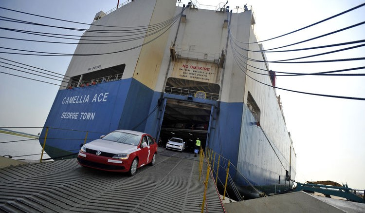 A Volkswagen AG Jetta is driven off a ship at the Georgia Ports Authority Colonel's Island auto import and export terminal in Brunswick, Georgia. Photographer: Stephen Morton