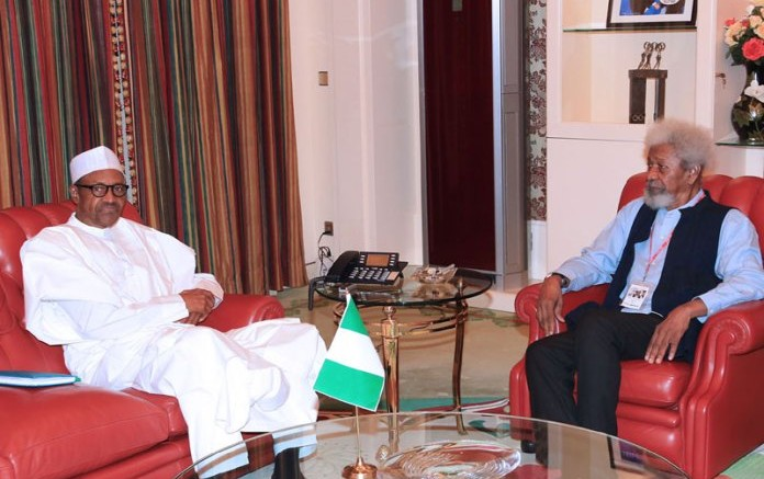 Buhari and Soyinka Seated