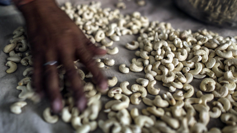 An employee sorts cashew nut at a dry fruite wholesale shop at the Begum Bazaar in Hyderabad, India, on Monday, Mar 10, 2014. Photographer: Dhiraj Singh