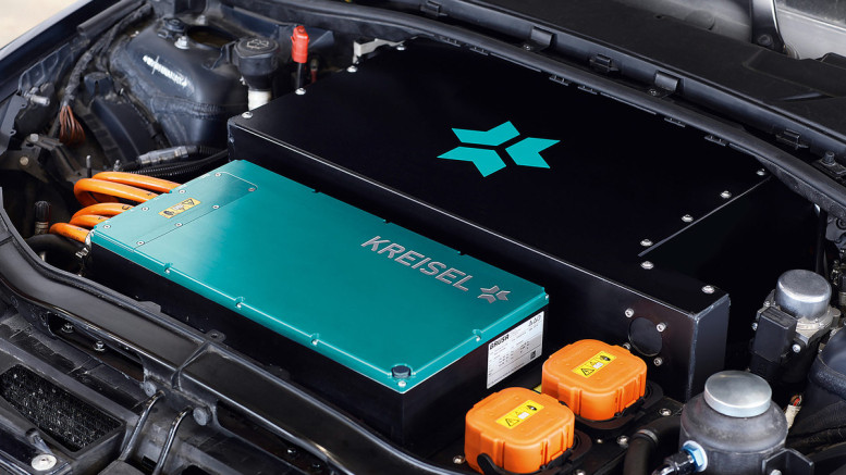 A Kreisel hybrid electric motor sits inside a BMW 3 Series engine compartment.