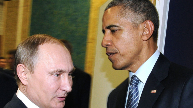 Russian President Vladimir Putin (L) meeting with US President Barack Obama on the sidelines of the UN conference on climate change – COP21 in Le Bourget, on the outskirts of the French capital Paris.