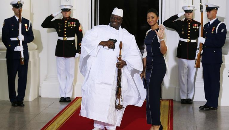 Republic of the Gambia's President Yahya Jammeh and his wife, Zineb Jammeh