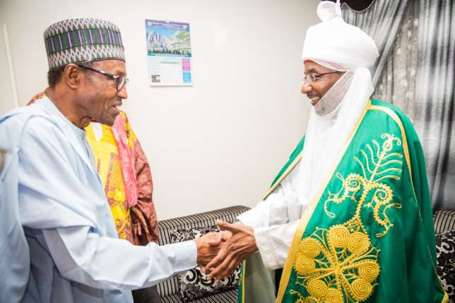 President Buhari (L) and the Emir of Kano, Sanusi Lamido Sanusi (R)