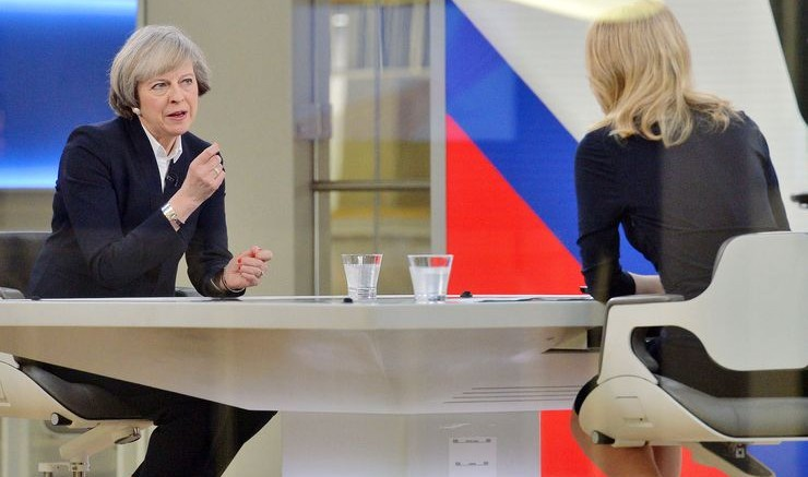 Prime Minister Theresa May (left) is interviewed by Sophy Ridge on Sky News in London on Sunday.Photographer: John Stillwell/PA Images via Getty Images