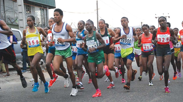 Athletes participating in the Access Bank Lagos City Marathon last year. Over 55,000 athletes from different countries will feature in the second edition today