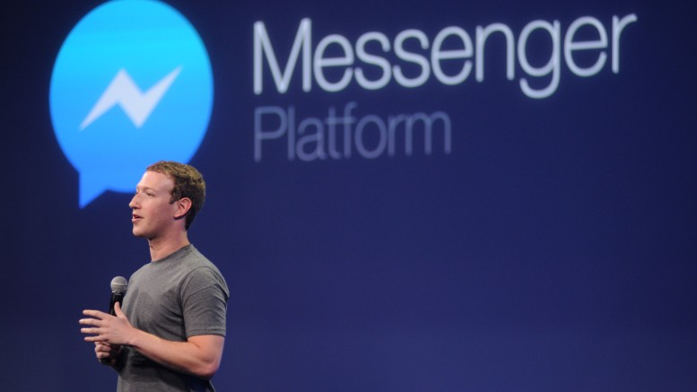 Facebook CEO Mark Zuckerberg introduces a new messenger platform at the F8 summit in San Francisco, California, on March 25, 2015. Photo credit should read Josh Edelson/AFP/Getty