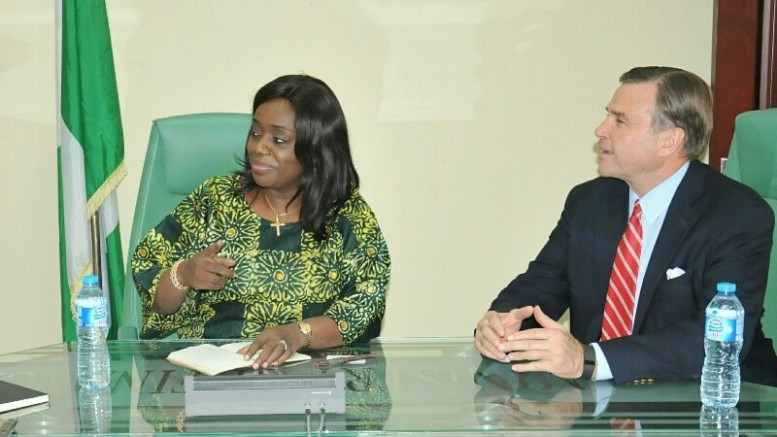 The Minister of Finance, Kemi Adeosun and the U.S. Ambassador to Nigeria, Stuart Symington.