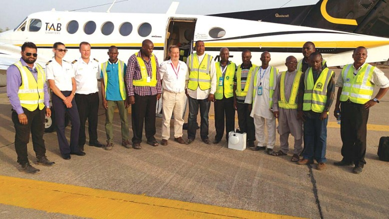 NAMA engineers pose with the calibration team after the Kaduna airport exercise