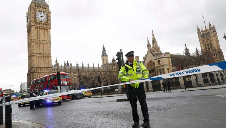 The police cordoned off Parliament Square in London on Wednesday after reports of a shooting. Credit Stefan Wermuth/Reuters