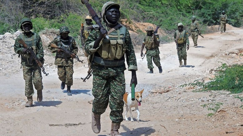 African Union soldiers in Somalia patrol the southern town of Merka, 90kms north of Somalia's capital Mogadishu. Photographer: Mohammed Abdiwahab