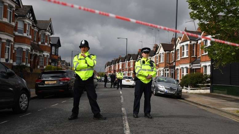 Police guard a residential street in north-west London on April 28. Photographer: Ben Stansall/AFP via Getty Images