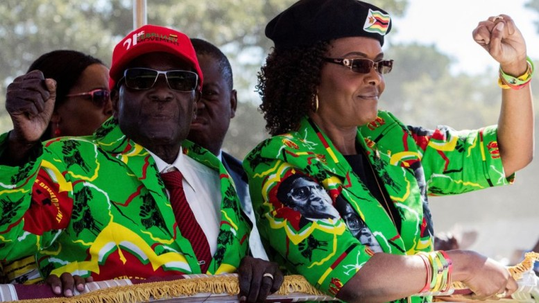Grace and Robert Mugabe Photographer: Jekesai Njikizana/AFP via Getty Images