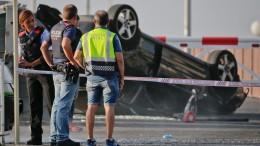 An overturned car where the attackers were intercepted by police in Cambrils. Photographer: Emilio Morenatti