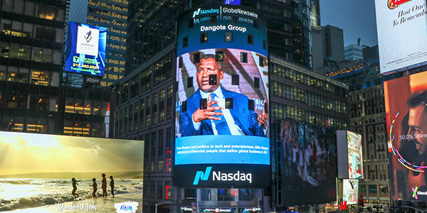 Aliko Dangote featured on Nasdaq Tower in Times Square
