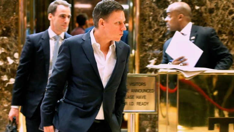 Peter Thiel exits an elevator after a meeting at Trump Tower in New York. PHOTO: EDUARDO MUNOZ/REUTERS