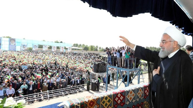 Rouhani addresses a rally on May 6.  Source: Iran Presidential Palace