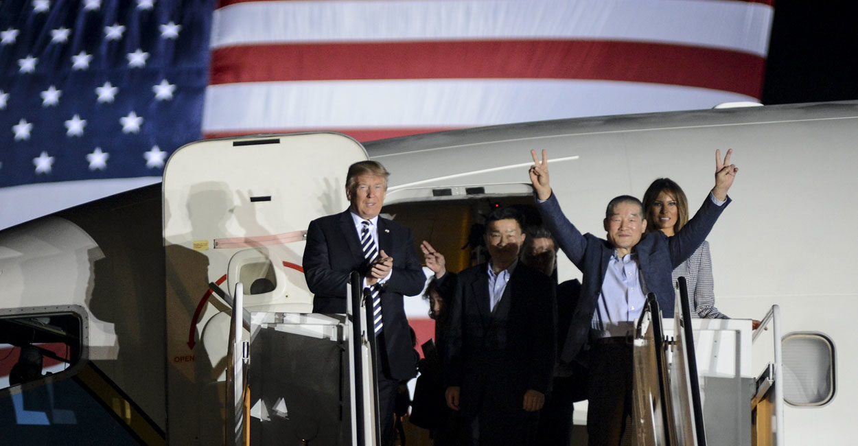 President Trump Welcome Home 3 Prisoners Held Hostage in North Korea