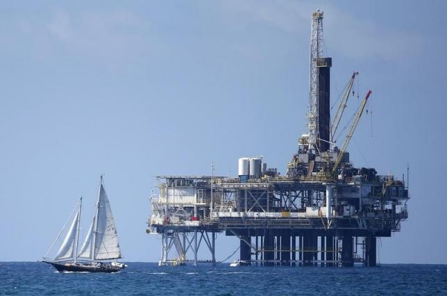 Offshore oil platform is seen in Huntington Beach