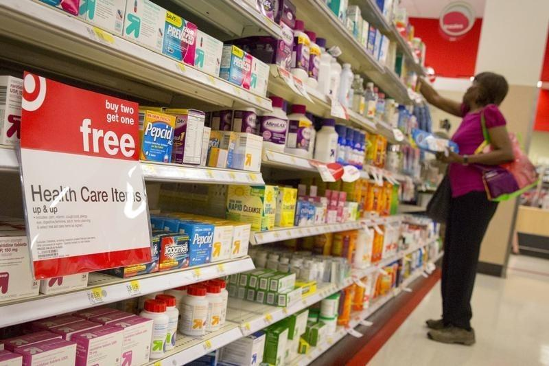 A customer shops in the pharmacy department of a Target store in the Brooklyn borough of New York
