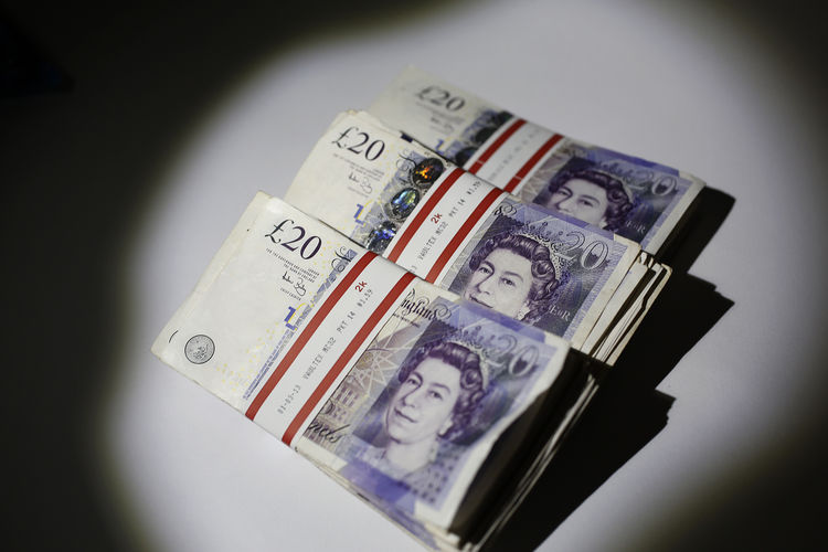 Bundles of Euro Currency and Sterling Notes