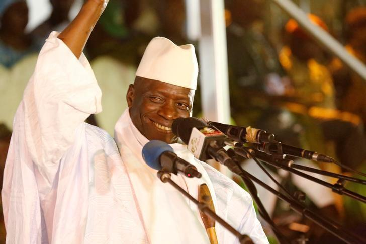 Gambia's President Jammeh smiles during a rally in Banjul