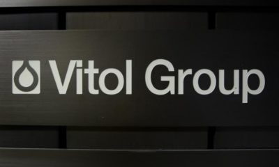 A sign is pictured in front of the Vitol Group trading commodities building in Geneva