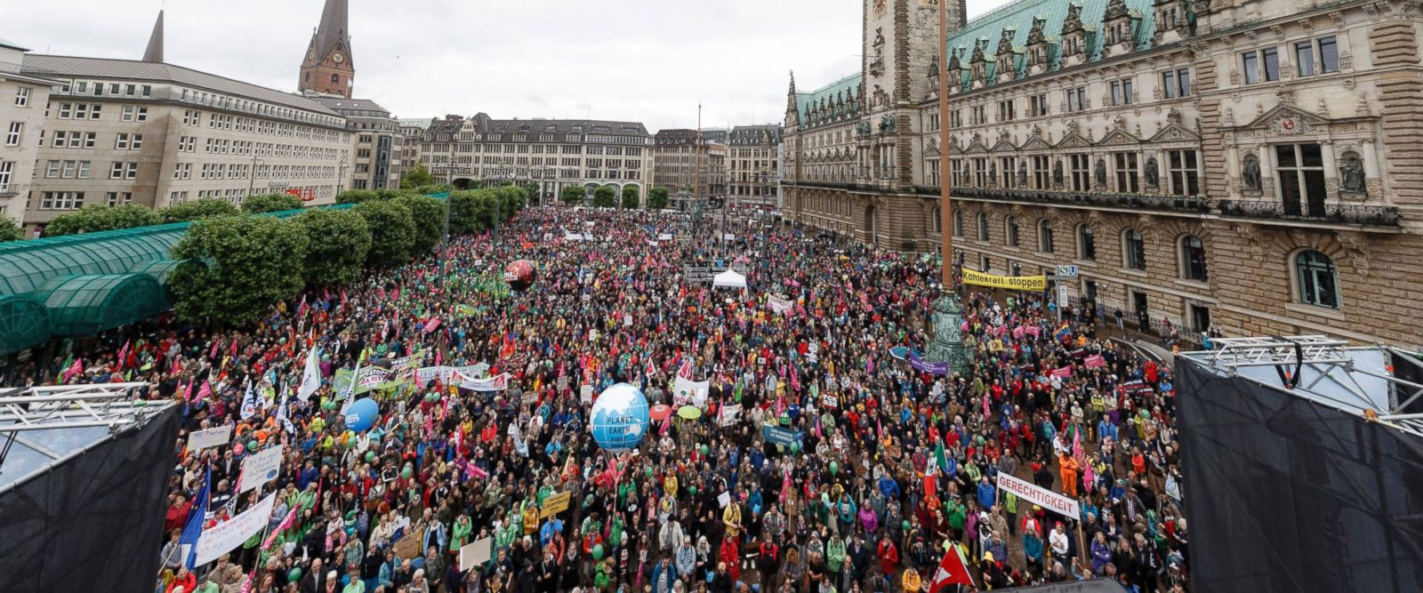 Protesters Outside G20 Venue in Hamburg Germany.