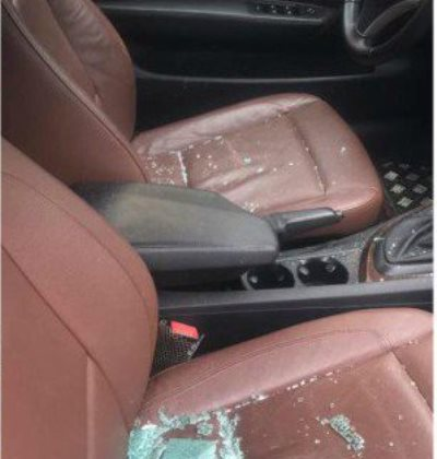 Charly Boy's car – with pieces of broken glasses