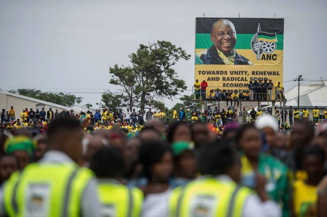A banner bearing a portrait of Cyril Ramaphosa, the A.N.C. leader, at the party's anniversary celebration last month. Credit Mujahid Safodien