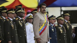 Venezuela's president Nicolás Maduro and military officers in uniform