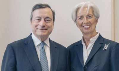 Outgoing President of the European Central Bank, Mario Draghi and incoming Christine Lagarde.