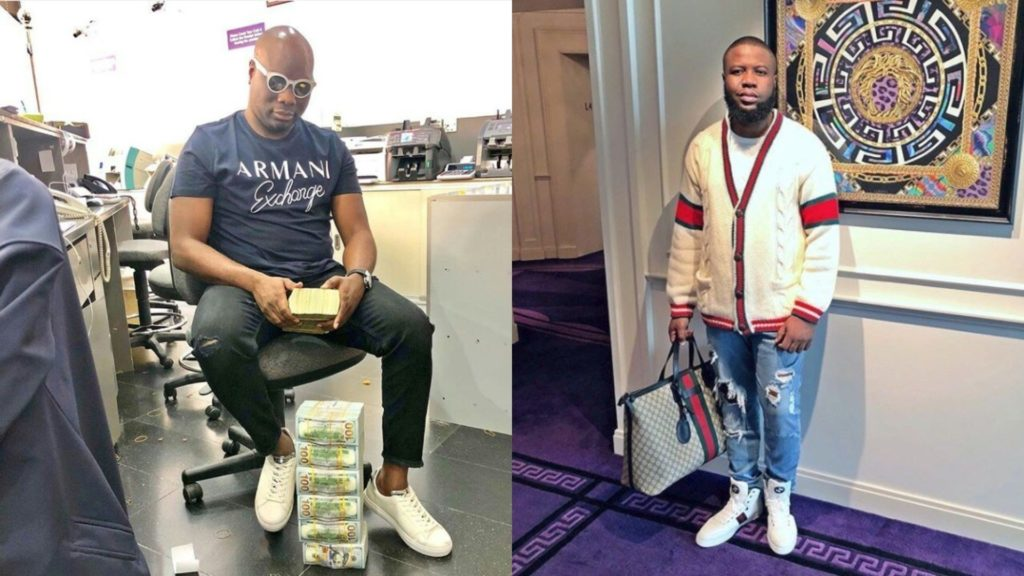 Mompha on the left Hushpuppi on the right