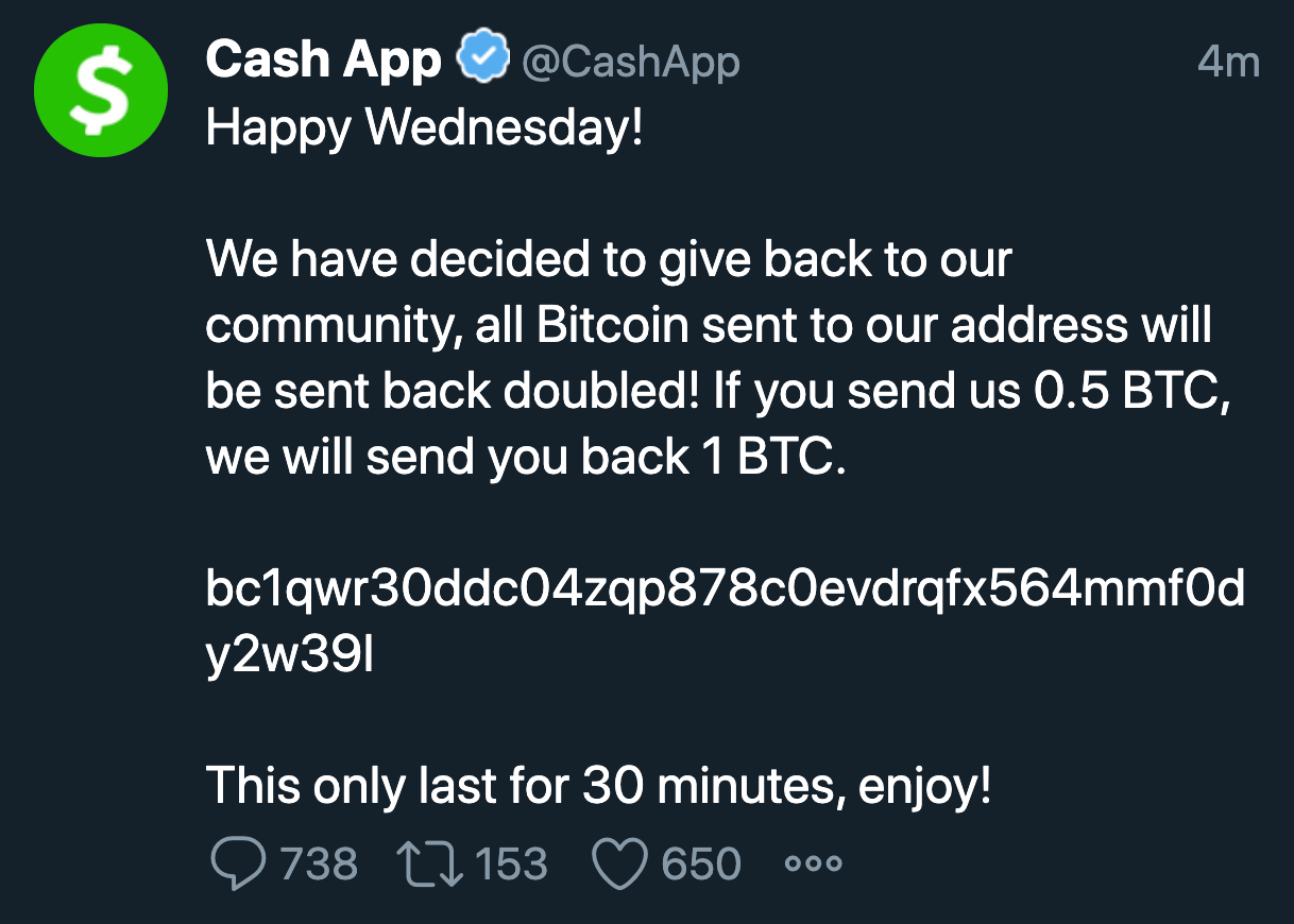 CashApp's Twitter Account hacked