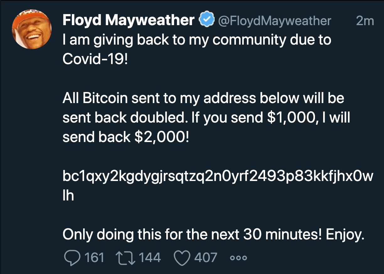 Floyd Mayweather's twitter account hacked