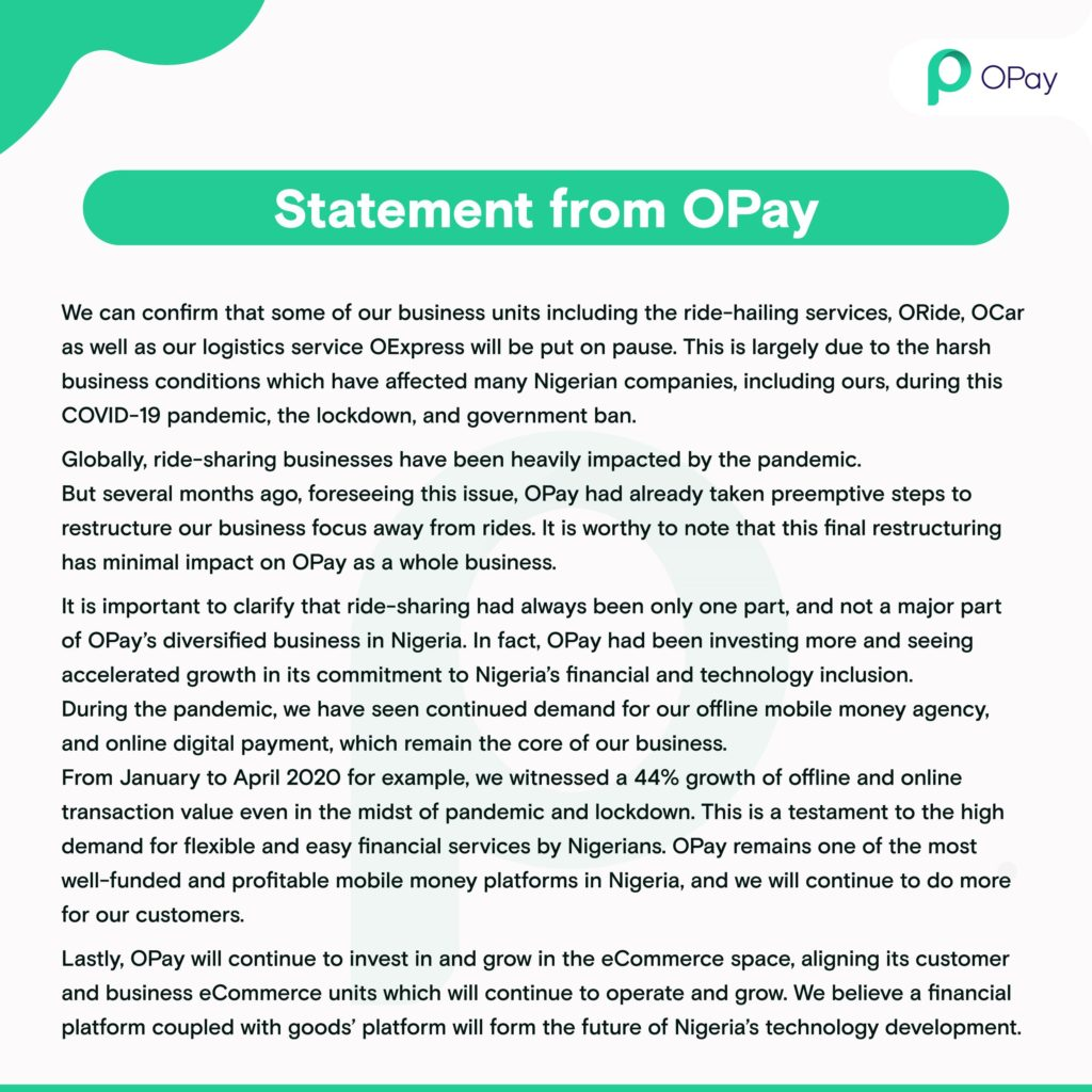 Opay Statement