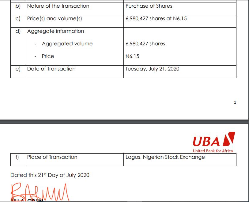 Tony Elumelu Buys another shares