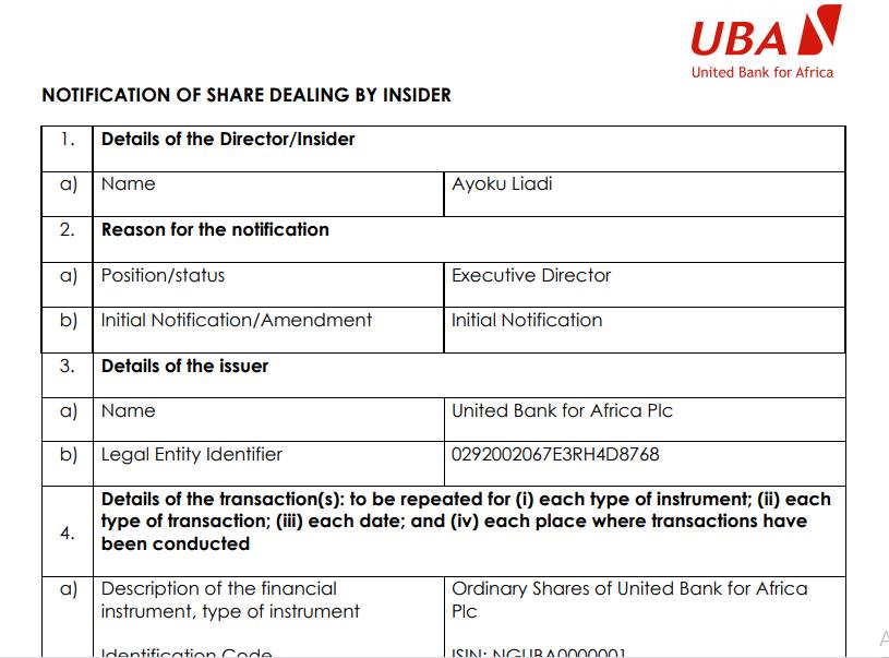 UBA insider dealing