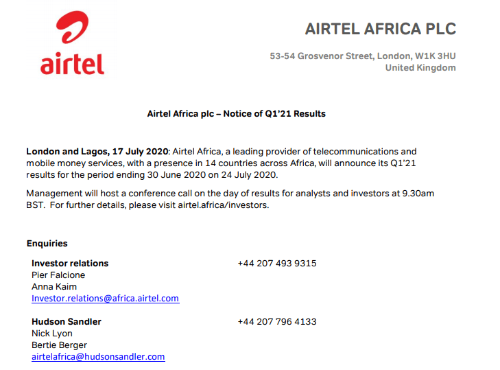 airtel financial results statement