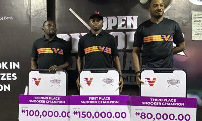 Snooker winners Shehu Bamidele, Gideon John and Victor Ukueku