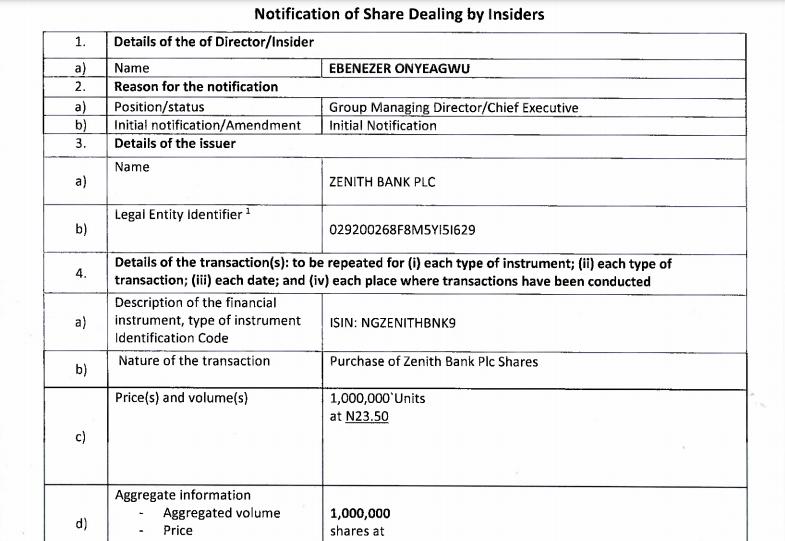 Ebenezer Onyeagwu shares purchase
