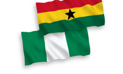 Flags of Ghana and Nigeria on a white background