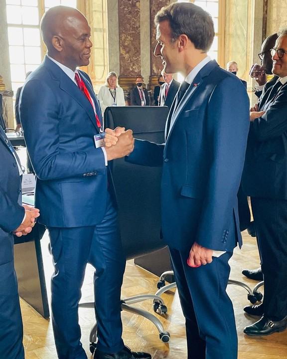 Tony Elumelue and President Emmanuel Macron - Investors King